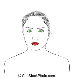 Face of beautiful young girl with green eyes and red lips....