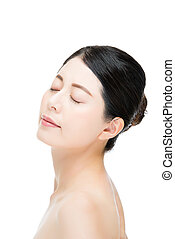 Face of beautiful young woman close eyes enjoy white background
