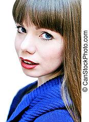 face of blue-eyed girl