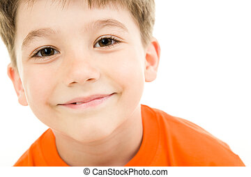Face of boy - Face of smiling boy with brown eyes on a white...