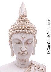 Face of Buddha - Buddha statue close up isolated against...