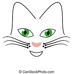 face of cat with green eyes