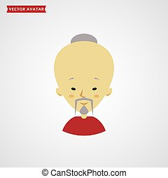 Face of chinese old man. Vector avatar.