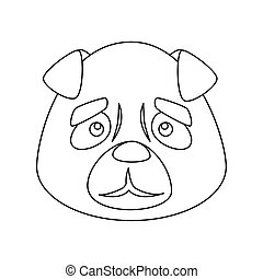 face of cute dog animal isolated icon