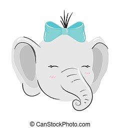 face of cute elephant animal isolated icon