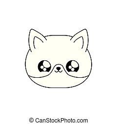 face of cute fox baby animal kawaii style