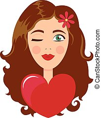 Face of cute girl with smile. Cartoon and flat style. Design element. White background. Vector illustration.