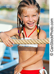 little girl with a rope