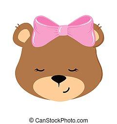 face of cute teddy bear female isolated icon