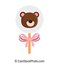 face of cute teddy bear in stick isolated icon