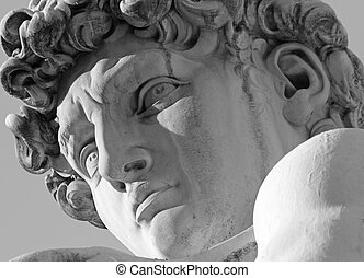 face of David sculpture by Michelangelo, Florence, Italy