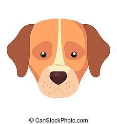 face of dog animal isolated icon