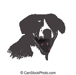 Face of dog hand drawn Sketch on white background