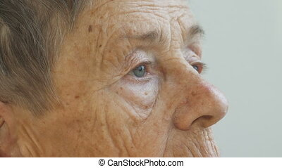 Face of elderly person, woman aged 81 years