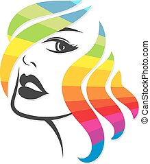 Face of girl for hair coloring