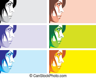 face of girl in different colors as cosmetics background