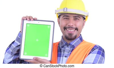 Face of happy bearded Persian man construction worker...