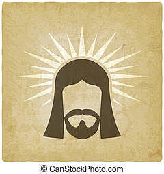 Face of Jesus Christ vintage background. vector illustration...