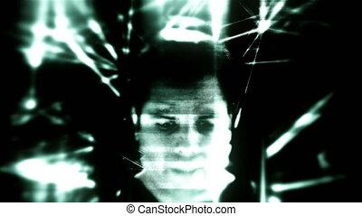 Glitchy Artificial Intelligence. Dystopian future sci fi concept in 4K.