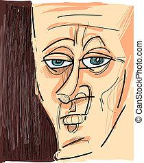 face of man cartoon sketch illustration