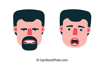 Face of man emotions. Cartoon character with a beard and...