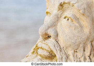 Face of mythological god Neptune with water on background