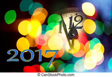 new year clock - face of new year clock with text 2017