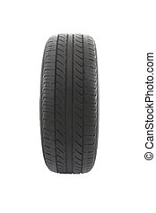 Face of old car tire on white background.