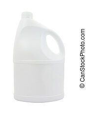 Face of plastic gallon with handle on white background.