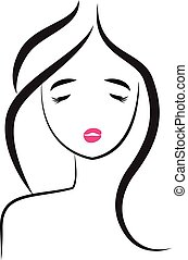 Face of pretty-sexy woman logo
