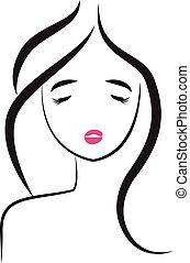 Face of pretty-sexy woman logo
