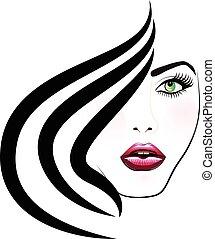 Face of pretty woman logo