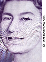 Queen Elizabeth - Face of Queen Elizabeth in a 20 pound bill