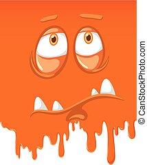 Face of sad orange monster