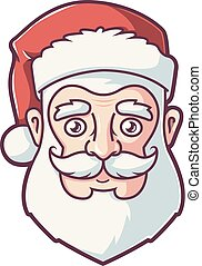 face of santa claus in red hat.