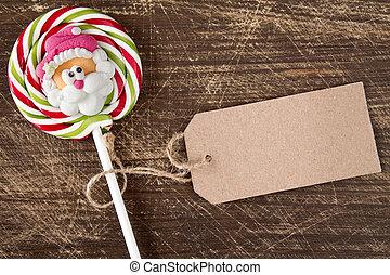 Face of Santa on Christmas lollipop