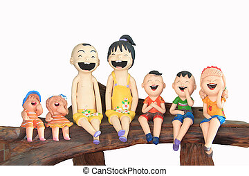 Face of smile baked clay doll  Family