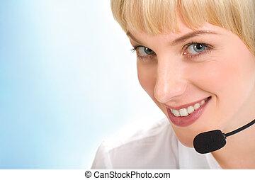 Face of telephone operator - Face of beautiful telephone...