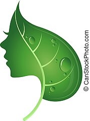 Face of woman and green leaf