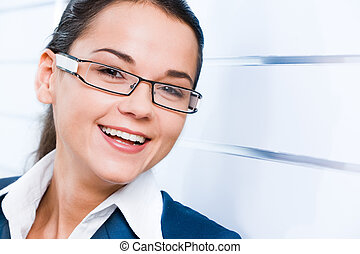 Face of woman - Face of business woman with smile isolated...