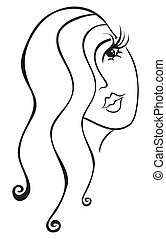 Illustration od woman face covered by hairs