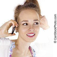 face of woman with cell phone