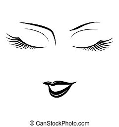 Face of woman with closed eyes.
