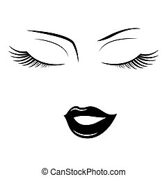 Face of woman with closed eyes on a white background