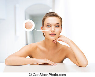 face of woman with dry skin - beauty and skin care concept...