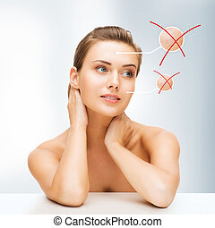 face of woman with dry skin - beauty and skin care concept -...