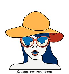 face of woman with summer hat and sunglasses