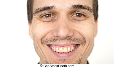 Face of young attractive successful smiling man on a white background