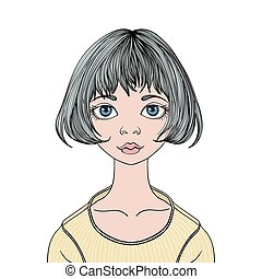 Face of young cute girl with big eyes and haircut caret. Vector female portrait illustration, isolated on white background.