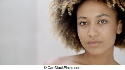 Face Of Young Pretty Woman - Pretty young black woman...
